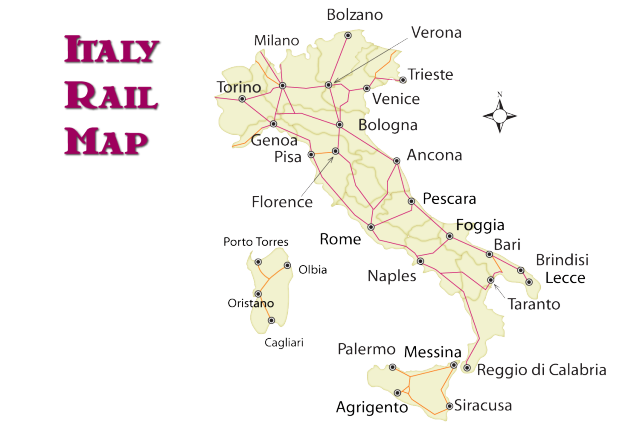 Map Of Train Lines In Italy  Deboomfotografie