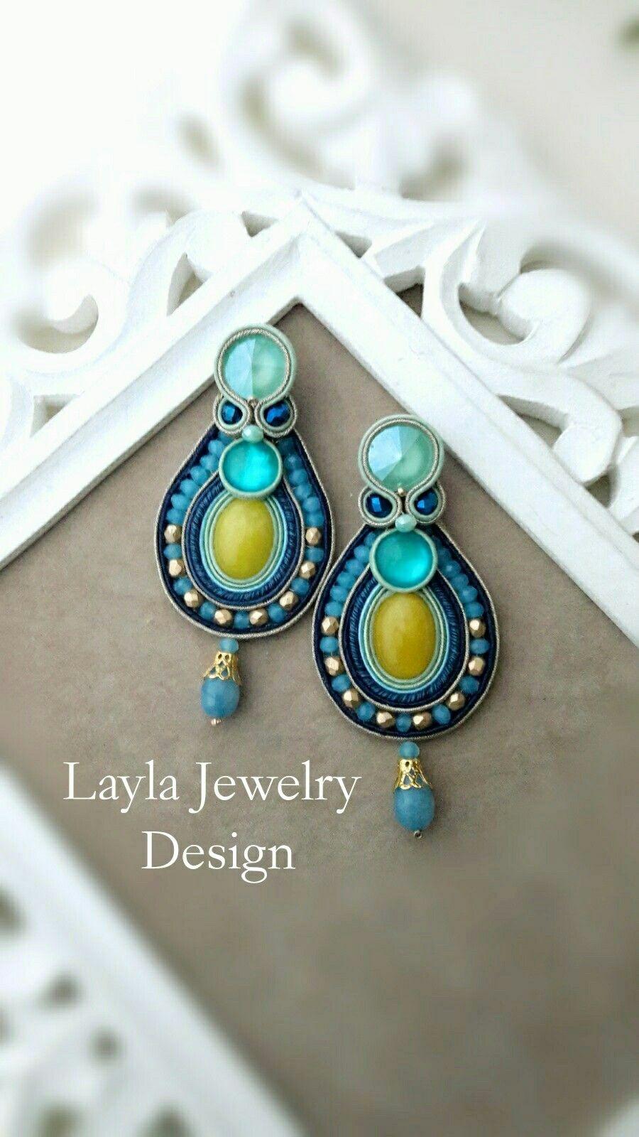 Soutache Swarovski earrings
