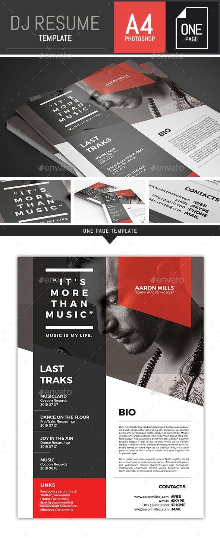 Dj Musician Onepage Press Kit Resume Template In 2020