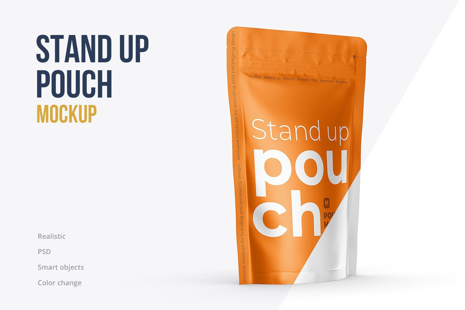 Download Stand Up Pouch Mockup Half Side View By Mock Up Ru On Creativemarket In 2020 Pouch Stand Up Drink Bag