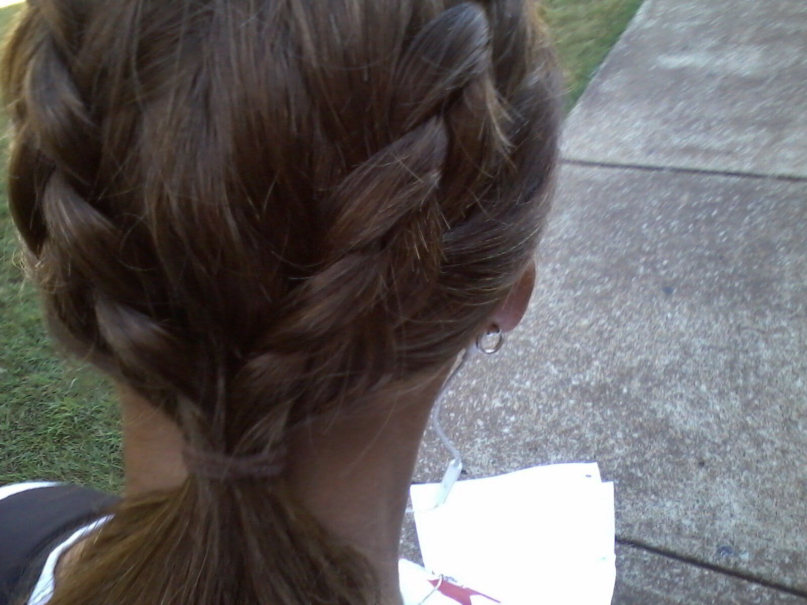 Two Dutch braids to pony tail Simple going to class look