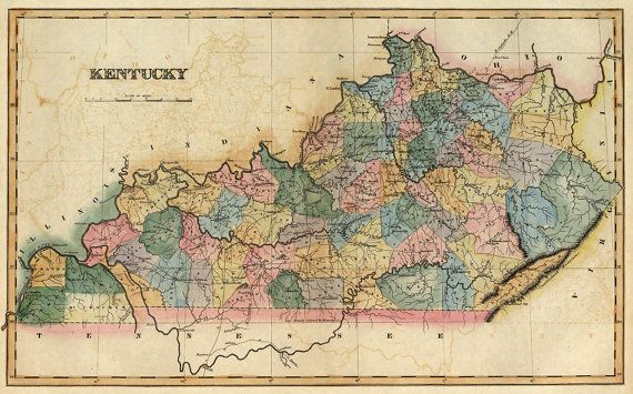 Old map of Kentucky from 1823 decorative wall map