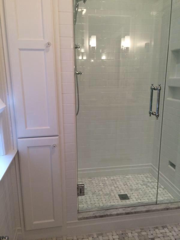 Small bath option - narrow linen closet More