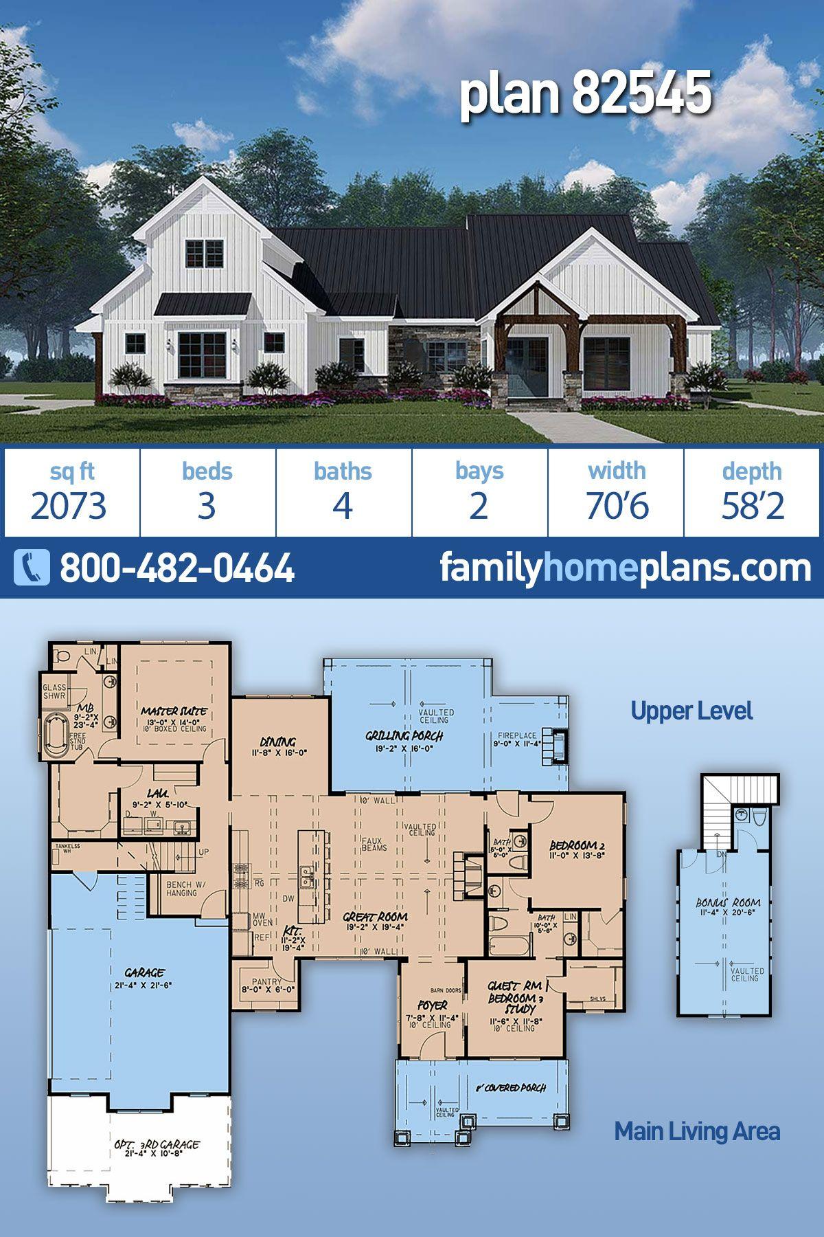 Farmhouse Style House Plan 82545 With 3 Bed 4 Bath 2 Car Garage Modern Style House Plans Beach House Plans Farmhouse Style House