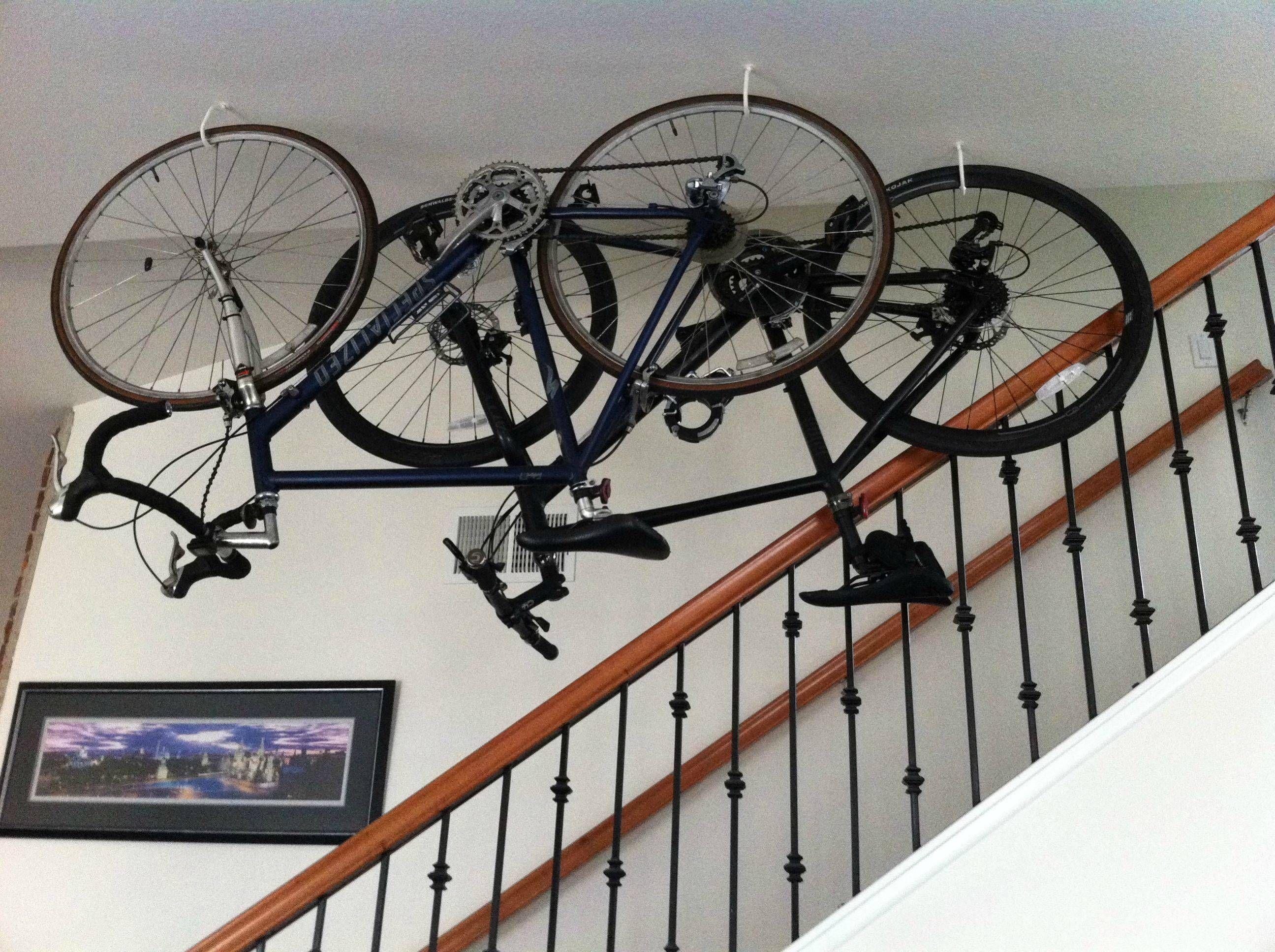 Hanging Bikes From Ceiling Apartment Google Search Bike Hanger For Garage Bike Wall Storage Bike Storage Garage