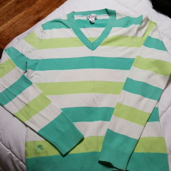 Lilly Pulitzer Cotton V-neck Sweater Gorgeous Lilly Pulitzer Cotton V-neck Lime, Aqua and White Striped Sweater. 100% cotton. Excellent condition. Size small. Lilly Pulitzer Sweaters V-Necks