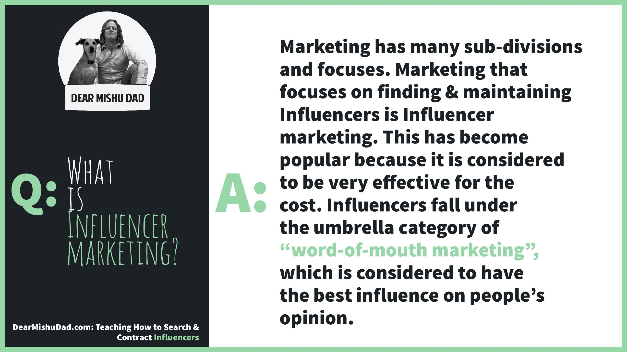 Marketing has many sub-divisions and focuses. Marketing that focuses on finding & maintaining #Influencers…