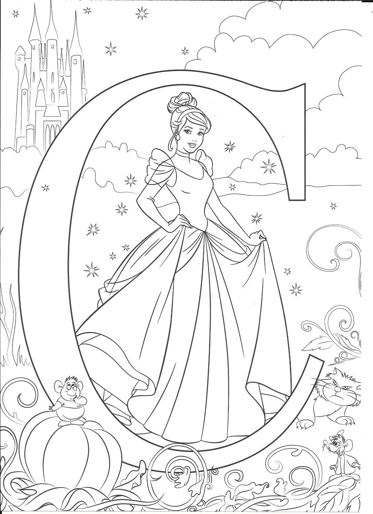 Pin by Mini on Alphabet Coloring Sheets Cinderella