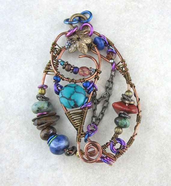 Handcrafted Wire Wrapped Antiqued Brass Copper Multi Colored Stone Pendant, Free Form Wired Pendant, Free Form Wired Multi Colored Jewelry Handmade USA