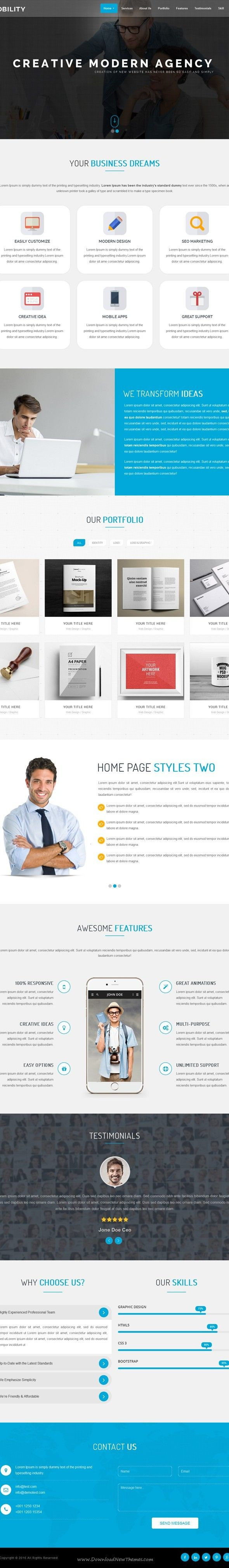 Mobility e Page HTML Template agency bootstrap corporate