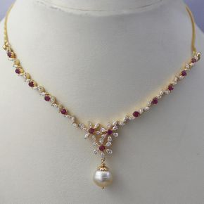 Sleek Ruby Diamond Necklace Indian Jewellery Designs South