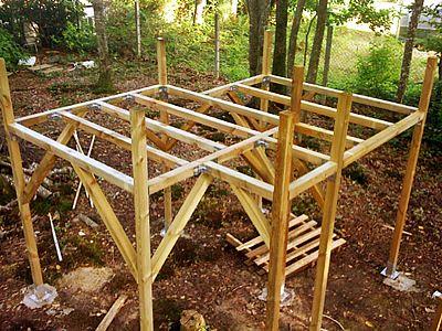 Plate forme cabane sur pilotis id es pour cabane Plan maisonnette en bois sur pilotis