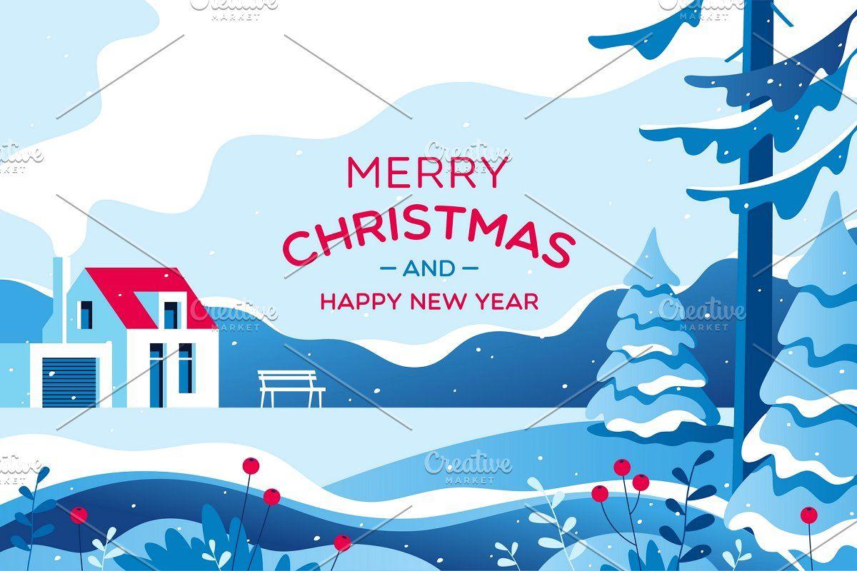 Christmas Card Christmas Landscape Winter Landscape Christmas Cards