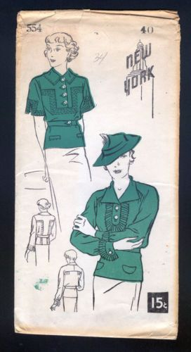 1930 New York Pattern Ladies\' Blouse with Two Style Options | eBay ...