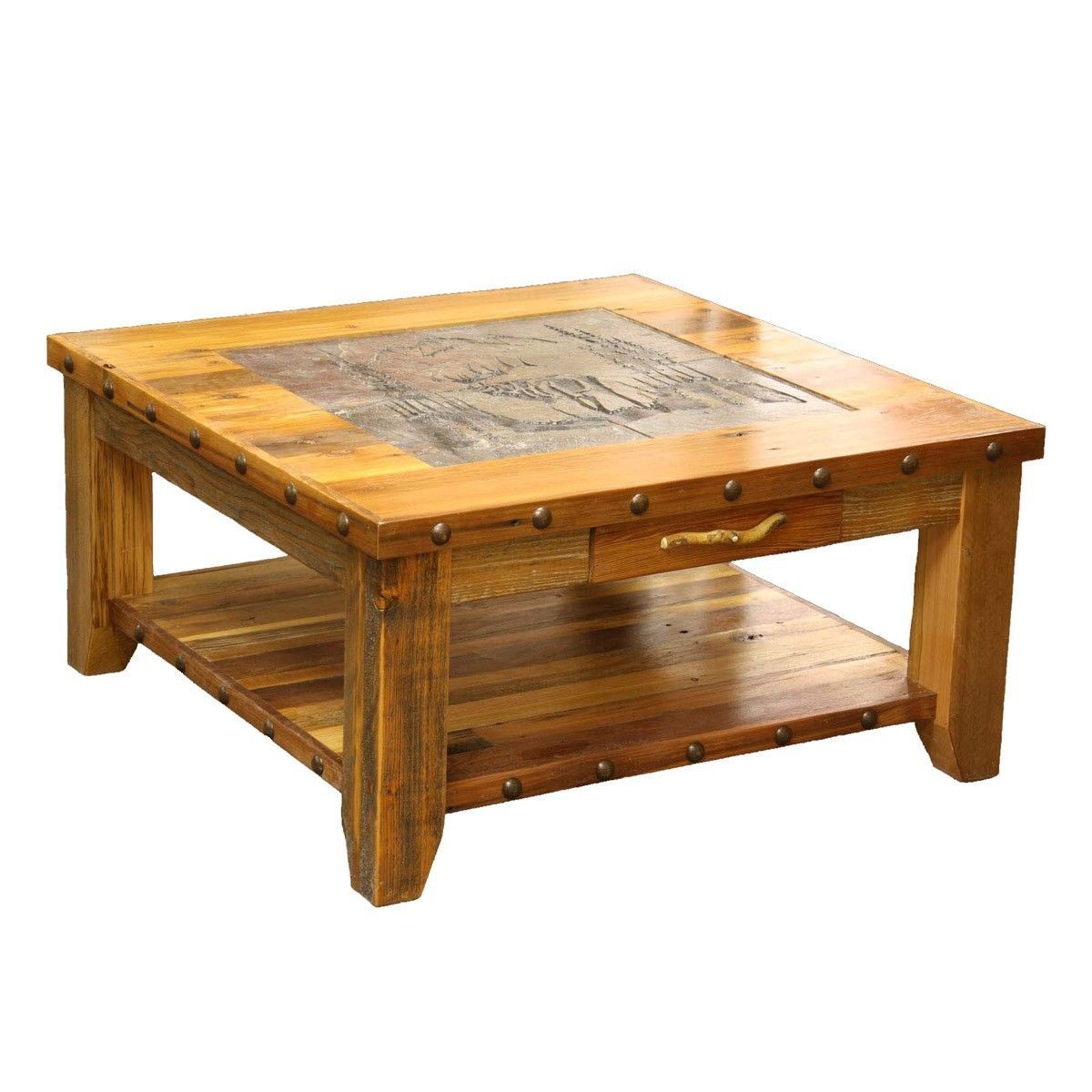 Western Coffee Table Country Rustic Wood Living Room Furniture