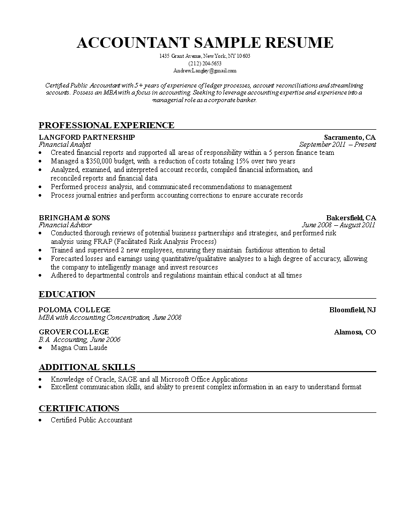 Nm Accountant Resume Sample   Templates
