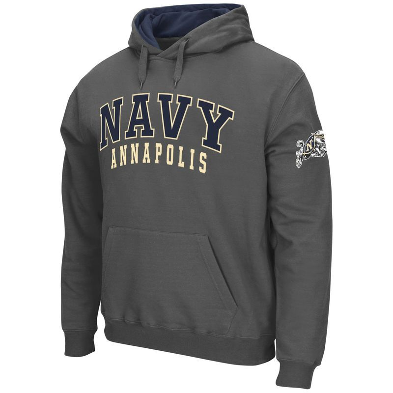 af8ed2bd2 Navy Midshipmen Stadium Athletic Double Arches Pullover Hoodie - Charcoal