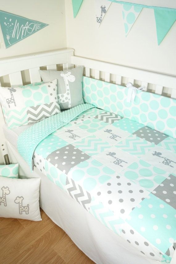 Patchwork quilt nursery set - Mint and grey giraffes (Mint minky ...