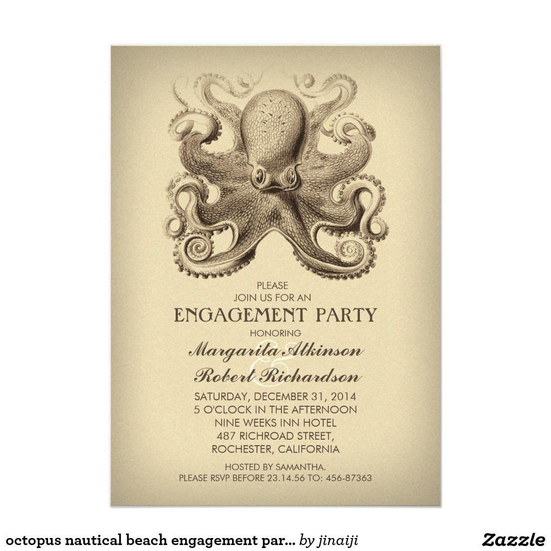 Octopus Nautical Beach Engagement Party Card Beach Engagement