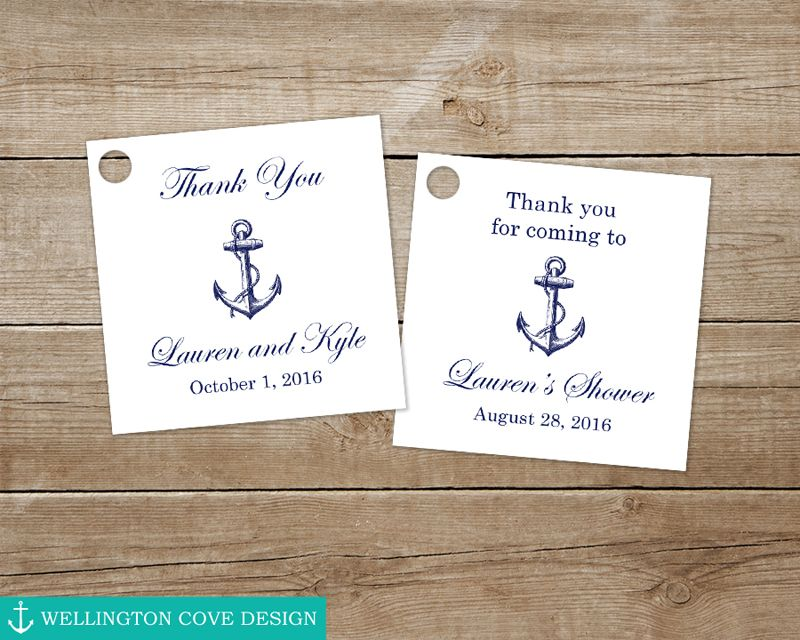 Printable Nautical Favor Tags for Wedding Bridal