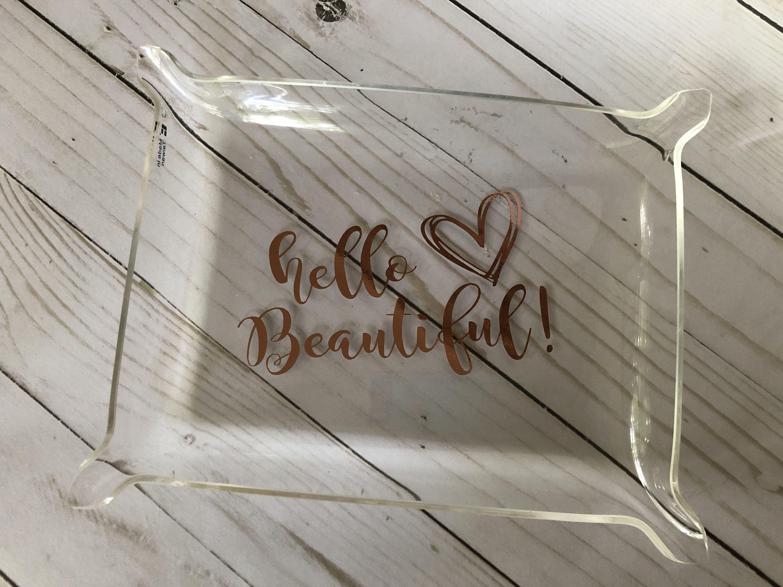 Medium acrylic tray personalized tray desk organizer rose gold