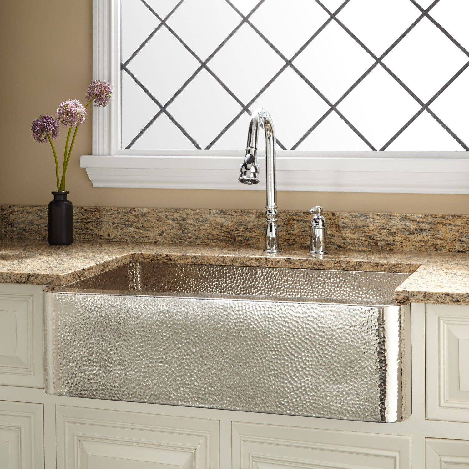 "33"" Reena Nickel Plated Copper Farmhouse Sink with Hammered Exterior"