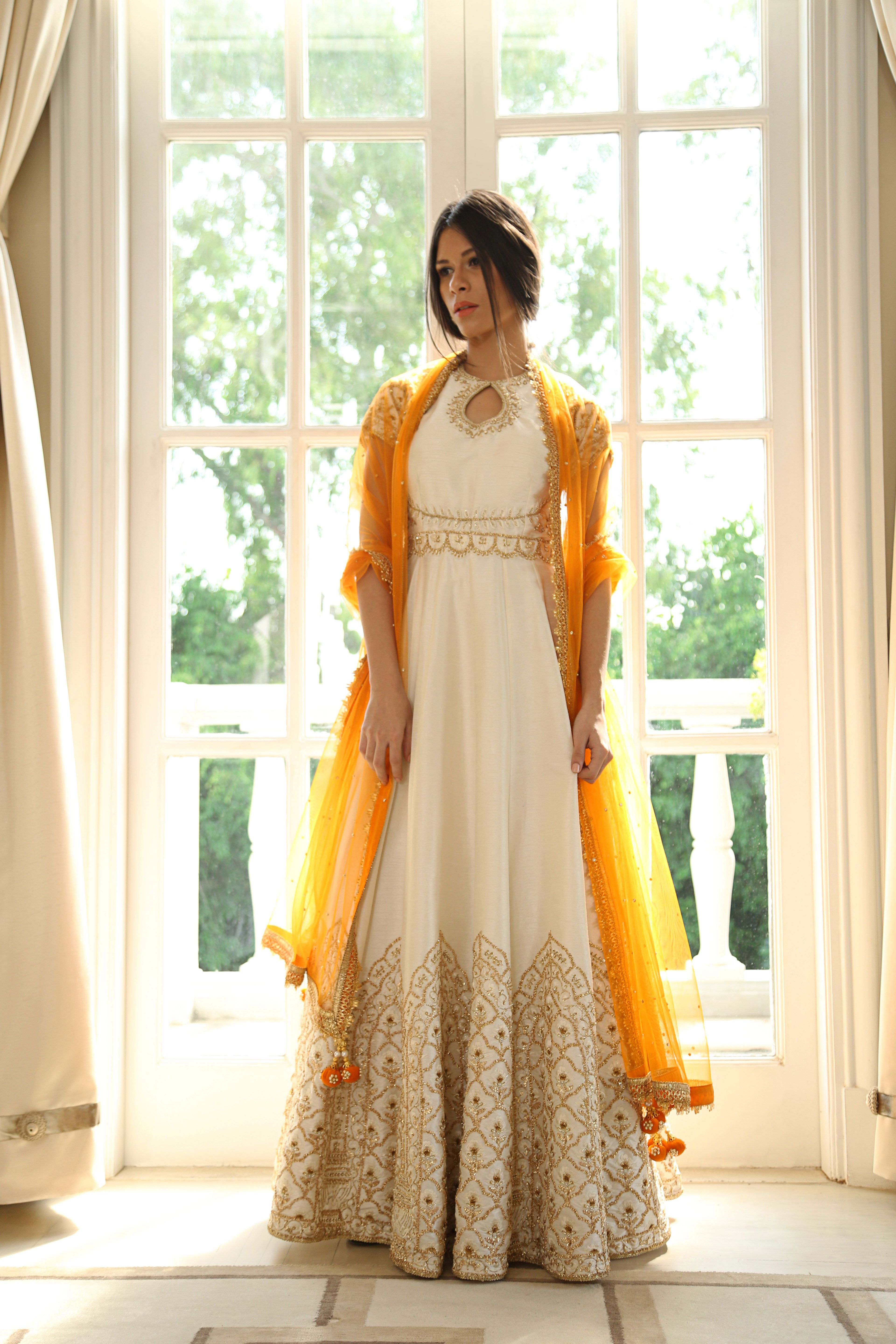 672179cf3 White Anarkali with Gold Embroidery and Gold Dupatta Chunni