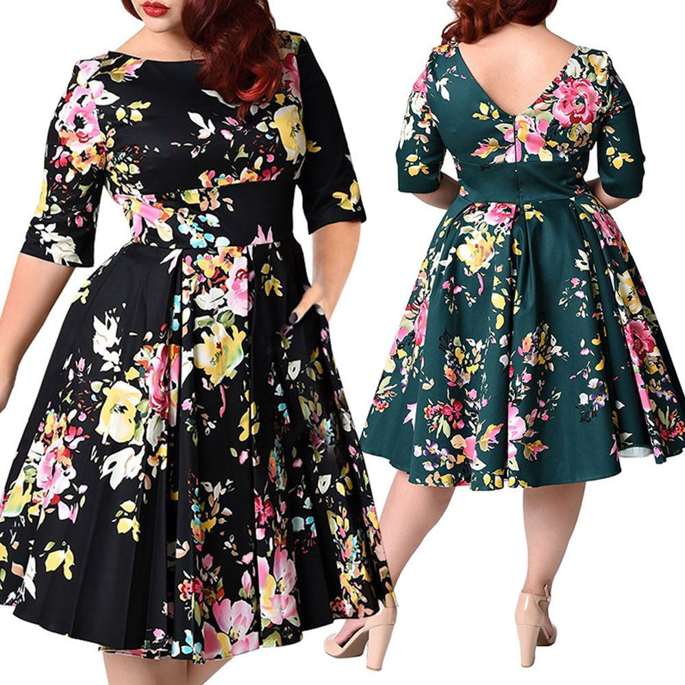 Womenus vintage floral rockabilly swing s flared prom tea dress