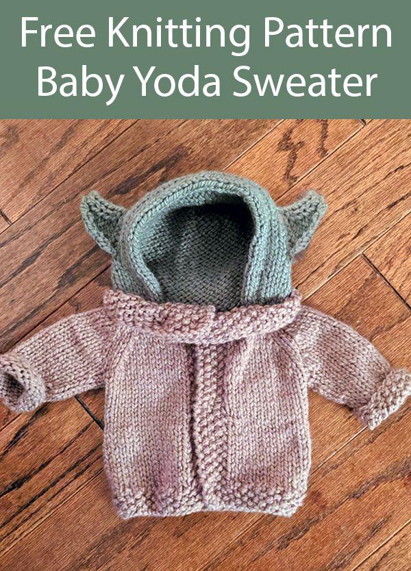 Photo of Free Knitting Pattern for Baby Yoda Baby Sweater