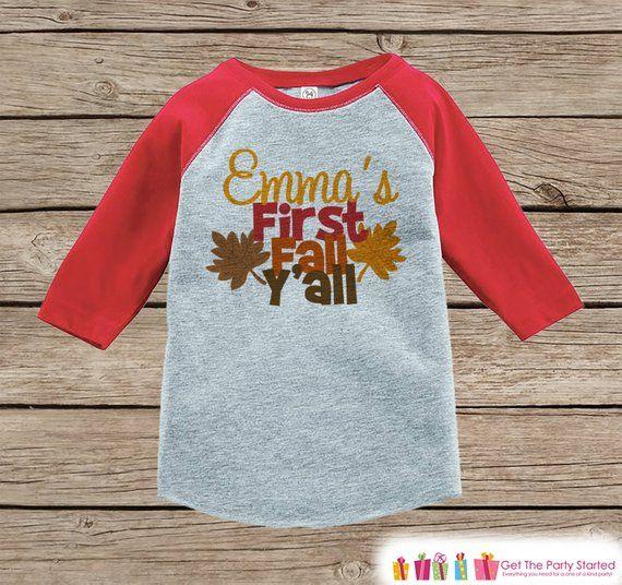 1724eae02 First Fall Y all Shirt - Boy or Girl First Fall Shirt - Baby Fall ...