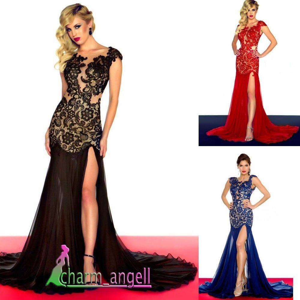 Sexy blackred lace eveningprom dressformalpartyballgownsz
