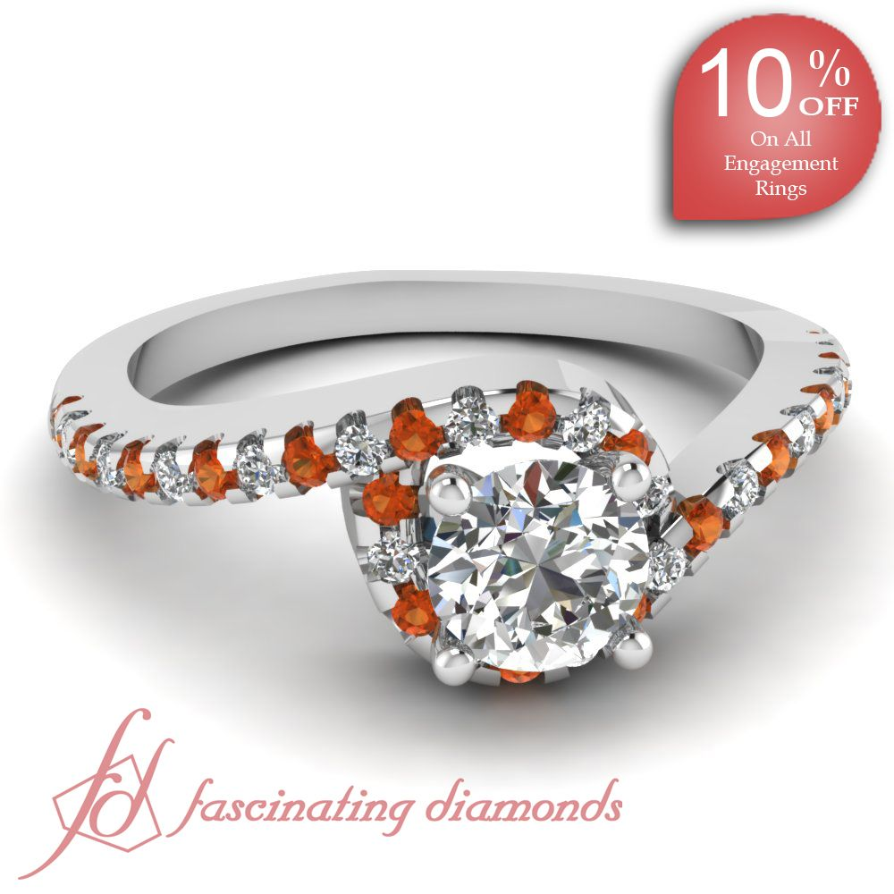 Round Diamonds and Orange Sapphire 14K White Gold Halo Engagement Ring in Floating Prong Setting || Twisted Halo Ring