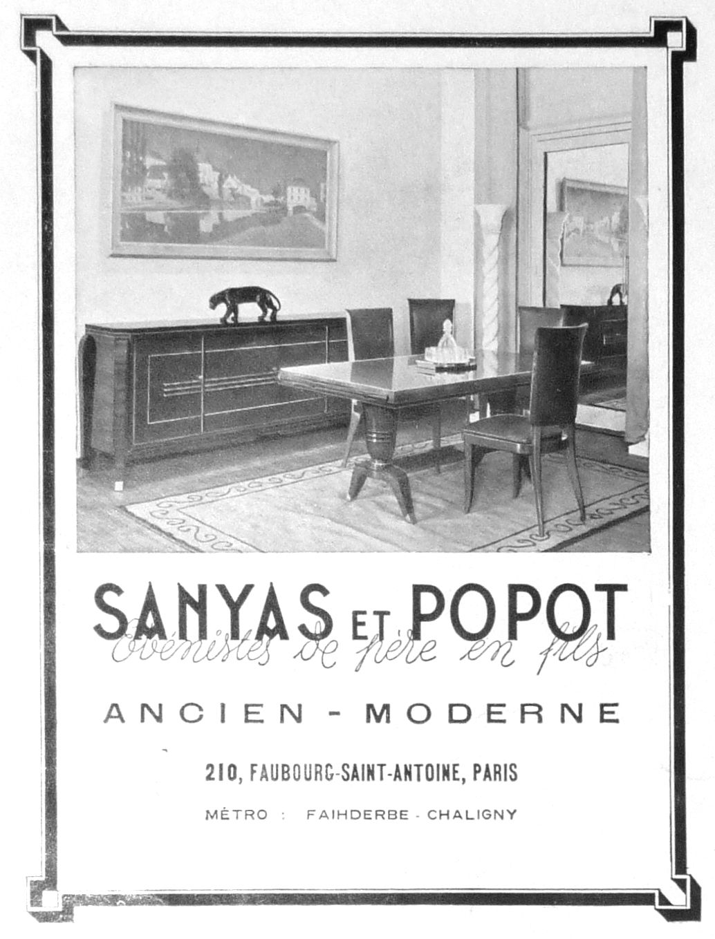 Vintage Old Ads France 1943 Anciennes Publicites Sanyas Popot Meubles Furniture Vintage Ads Paris Metro Furniture Design