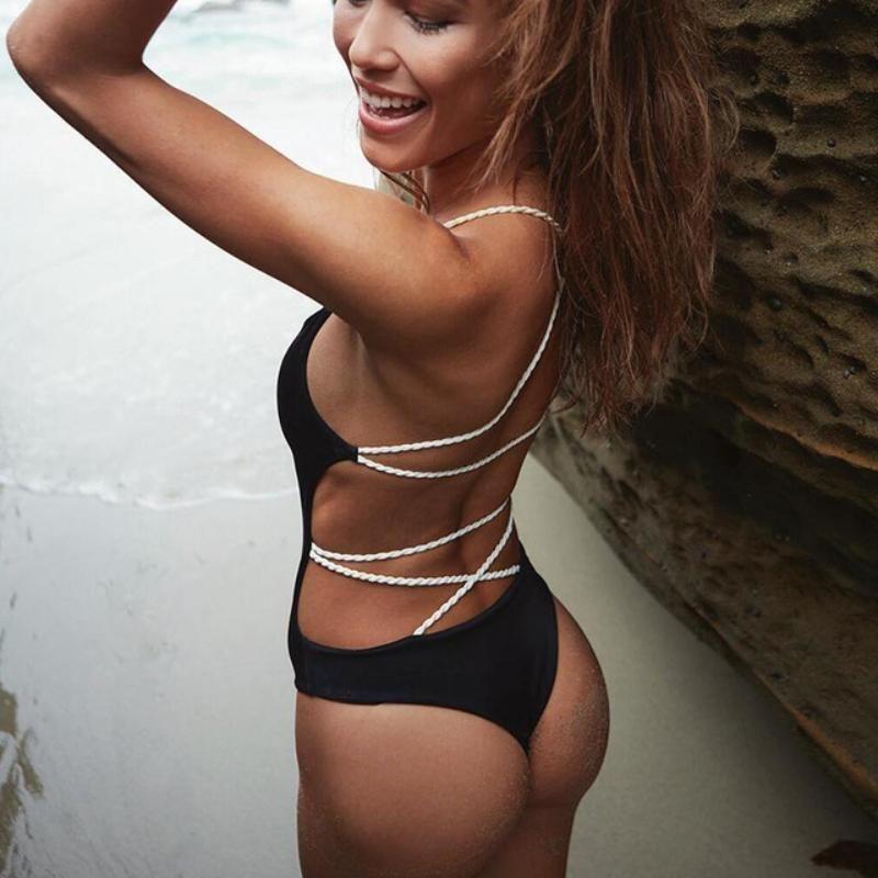 5b3d486169631 loomrack Criss Cross Brazilian One-Piece Swimsuit Body Suits Black   S
