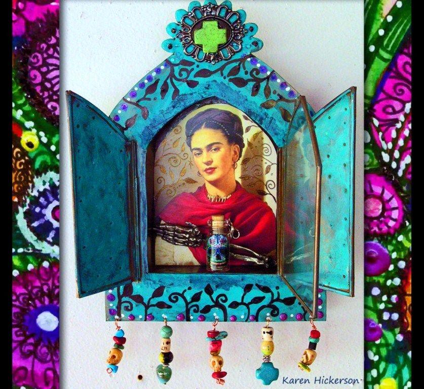 Assemblage Art - Frida Kahlo Tin Nicho Shrine Altar by Karen Hickerson #DayoftheDead