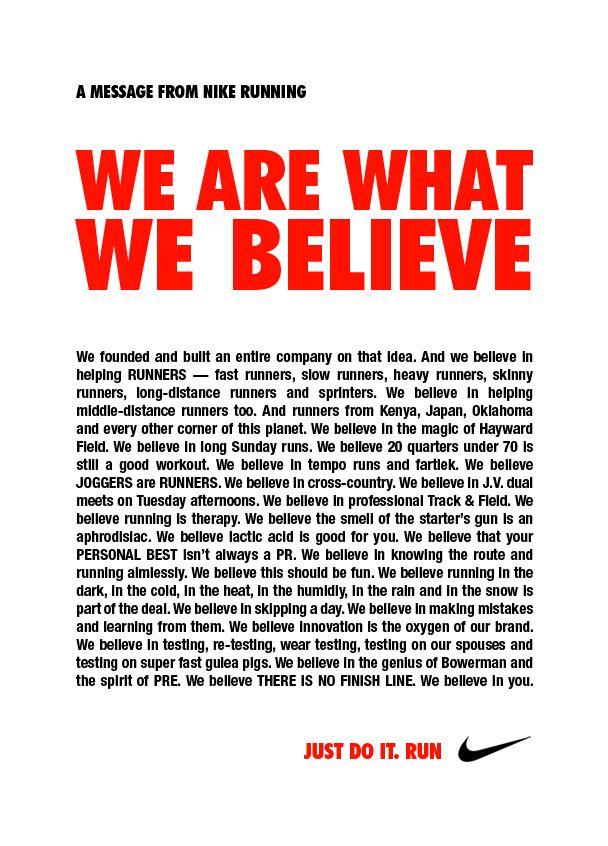 Nike We Are What We Believe Brand Manifesto Brand Manifesto Manifesto Design Copy Ads