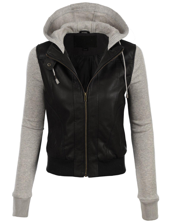 Le3no Womens Faux Leather Moto Bomber Jacket With Fleece Hoodie Faux Leather Jacket Women Leather Jackets Women Faux Leather Bomber Jacket [ 1500 x 1150 Pixel ]