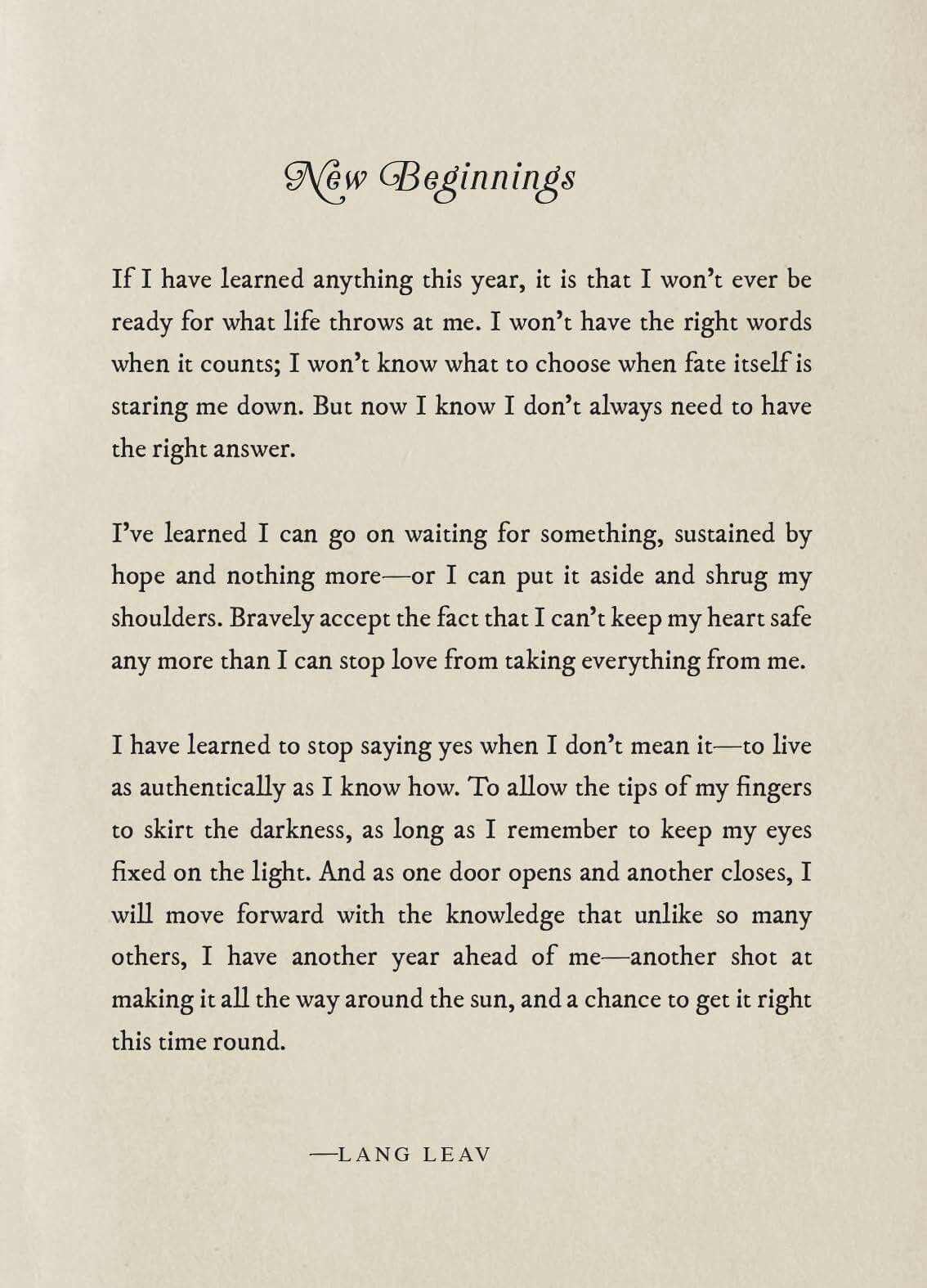 Pin by Jessica Bour on Quotes in 2018 | Pinterest | Lang leav ...
