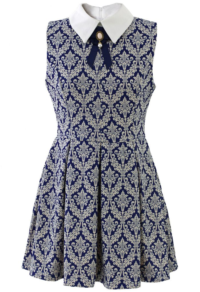 Baroque Print Dress with Contrast Collar - New Arrivals - Retro, Indie and Unique Fashion