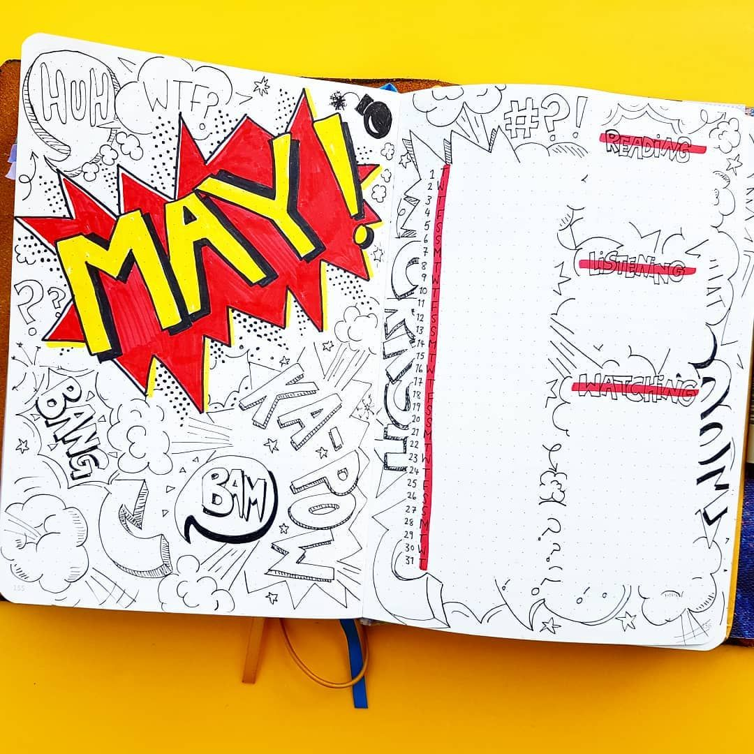 Bullet journal monthly cover page, May cover page, comic book bullet journal theme. | @sj_bujo #comicbooks