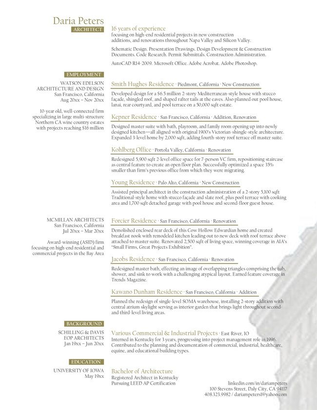Project Architect Resume - Project Architect Resume will give ideas - resume valley