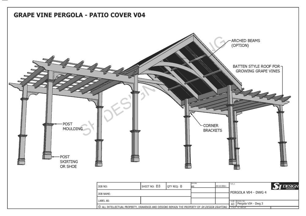 Gentil GRAPE VINE OUTDOOR PERGOLA   PATIO COVER VERANDA V4   Full Building Plans