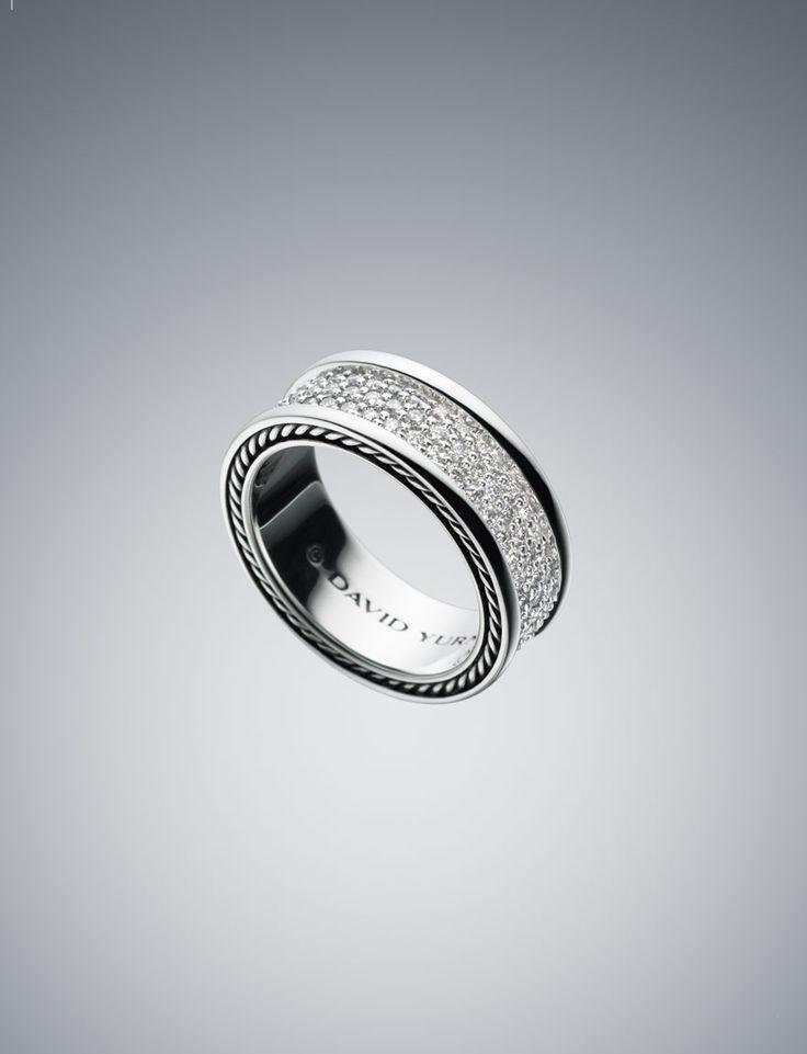 David Yurman Wedding Band Streamline Three Row Ring With Diamonds