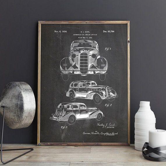 Vintage Car Wall Art, Car Wall Print, Vintage Car Print, Retro Car ...