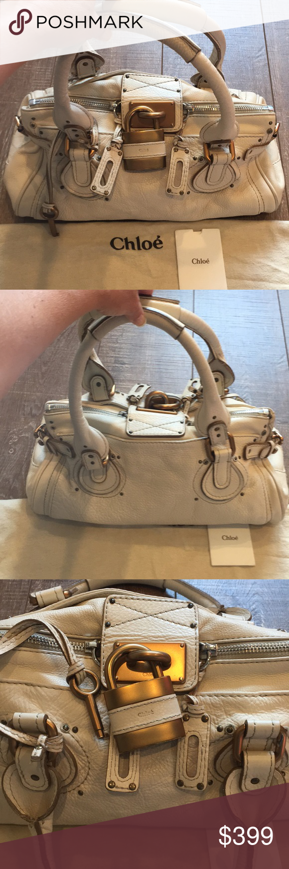 """Chloe Paddington bag in ivory Classic Chloe Paddington bag in ivory. 100% authentic. The Paddington is a slouchy bag and naturally has somewhat of a worn look to it. Gently loved and has some minor signs of wear - some scratches on hardware and minor wear on the leather, small stain(I didn't notice, until I zoomed in for the picture)beneath handle(see photo) but in overall very good condition. There are 2 zippers that meet in the middle. Flap with lock secures purse. Comes with dust bag and care card. 14.5""""x9"""" Strap drop 8"""" Chloe Bags"""