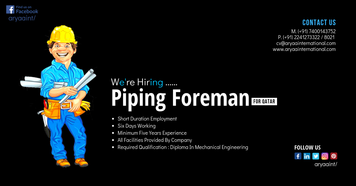 Requirement For Piping Foreman In Qatar. Short Duration Employment ...