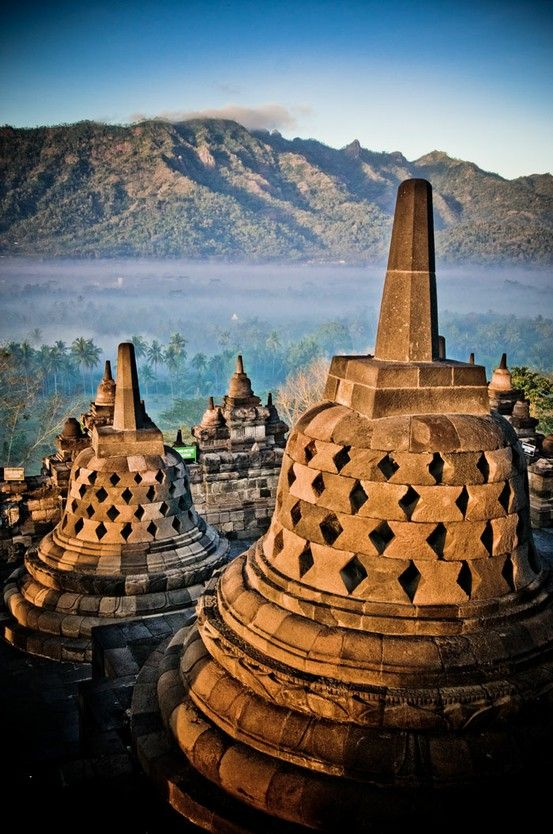 Buddhist Temple, Borobudur, Indonesia. I visited in 2006, but my camera battery went flat before I could take any photos! Amazing place.