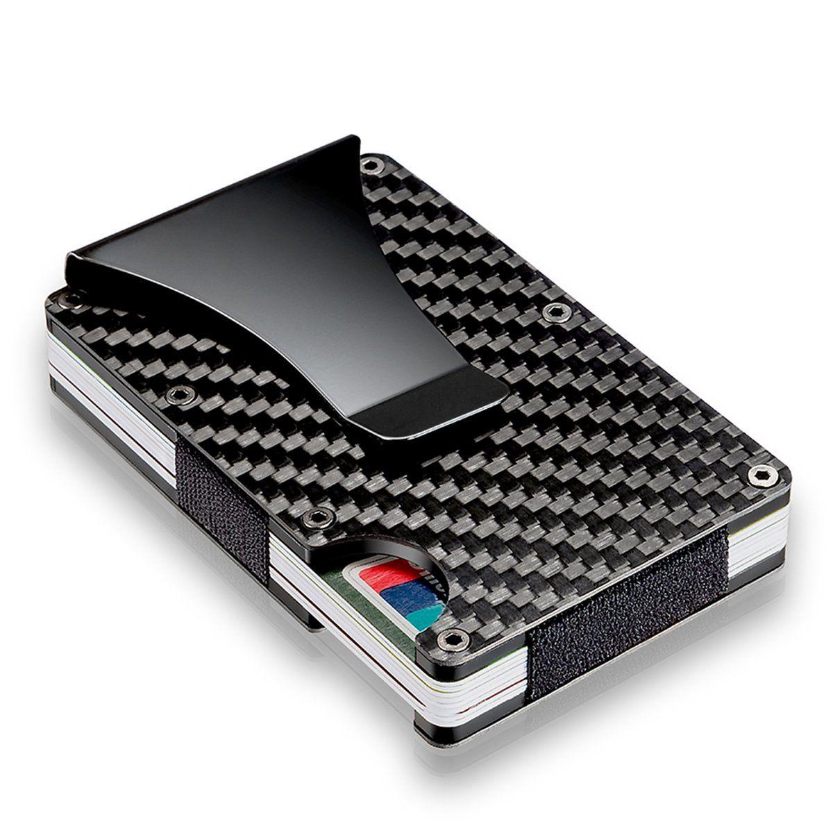 e43dad3ddb6f Slim Carbon Fiber Credit Card Holder RFID Blocking Metal Wallet ...