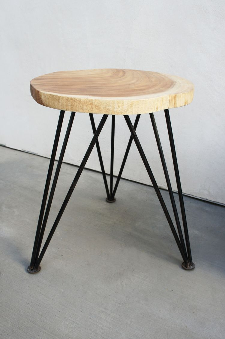 DIY Wood Stool with Hairpin legs!