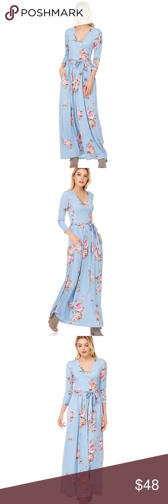 82e383abd2a NWT Light Blue Floral Maxi Dress by Reborn J  34 SALE PRICE ENDS TODAY! New  with tags. This baby blue dress features a maxi length